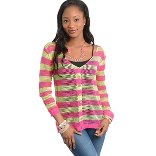 Feellib Women's Pink and Yellow Button-up Casual Sweater