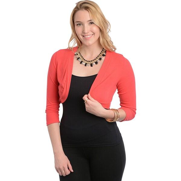Feellib Women's Plus Size Coral Long Sleeve Bolero