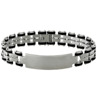 Gravity Stainless Steel Men's Rubber ID Bracelet