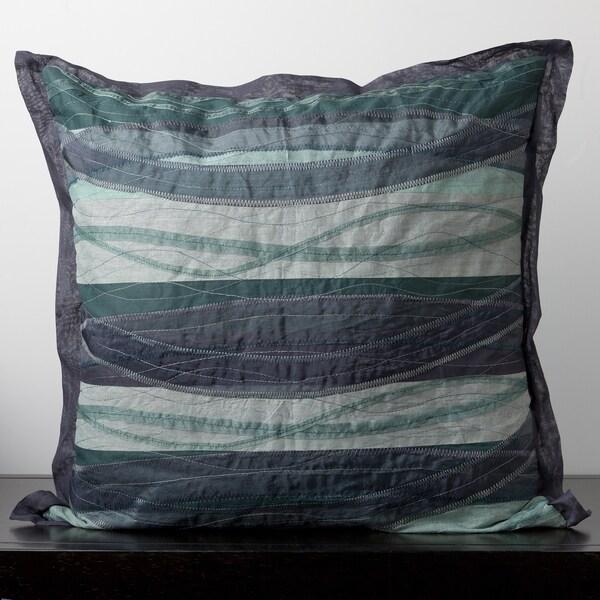 Wavy Blue Cotton Decorative Pillow