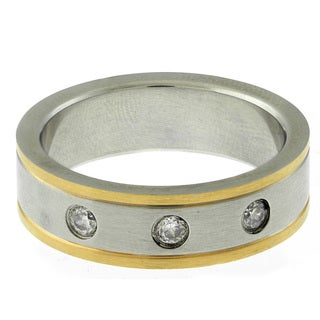 Gravity Stainless Steel Two-tone Men's Cubic Zirconia Ring