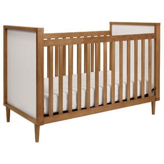 Babyletto Skip 3-in-1 Chestnut and White Convertible Crib with Toddler Rail