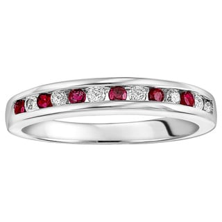 Cambridge Sterling Silver 1/6ct TDW Diamond and Ruby Wedding Band (I-J, I2-I3)