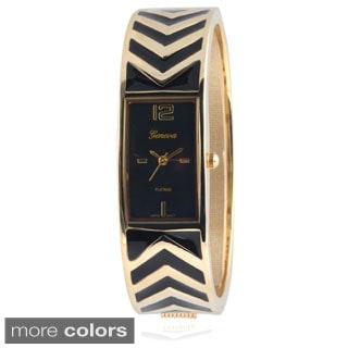 Geneva Platinum Women's Stainless Steel Cuff Watch