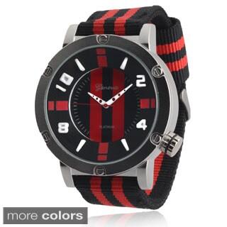 Geneva Platinum Men's Analog Nylon Strap Watch
