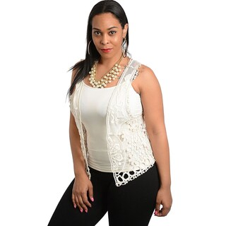 Shop The Trends Women's Plus Size Ivory Crocheted Openwork Vest