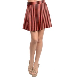 Feellib Women's Coral and Black Striped Skater Skirt