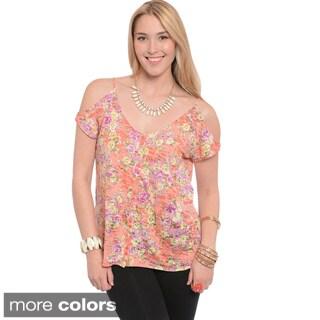 Feellib Women's Plus Floral Cut-out Shoulder Top