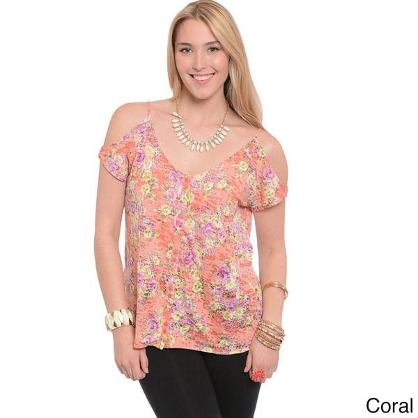 Shop The Trends Women's Plus Floral Cut-out Shoulder Top