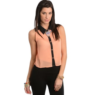 Shop The Trends Women's Peach/ Black Sleeveless Buttoned Top