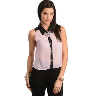 Feellib Women's Lavender/ Black Sleeveless Buttoned Top