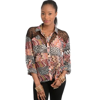 Feellib Women's Multicolored Chevron Patchwork Blouse