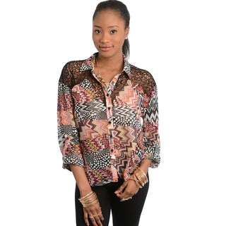 Shop The Trends Women's Multicolored Chevron Patchwork Blouse