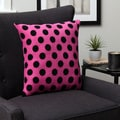 Plush Decorative Pink and Black Dot Throw Pillow