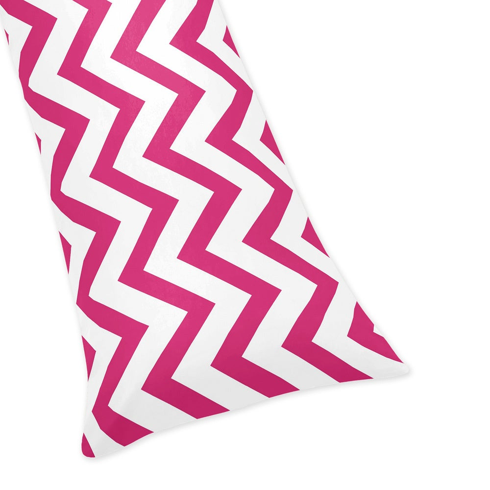 Sweet Jojo Designs Hot Pink/ White Chevron Zigzag Case Full Length Double Zippered Body Pillowcase Pink Size Standard