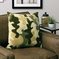 Plush Decorative Green Camo Throw Pillow