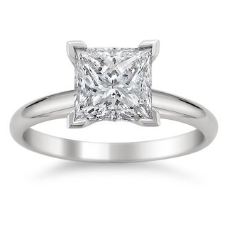 14k White Gold 1 1/4ct TDW Diamond Princess-cut Solitaire Engagement Ring (G-H, SI1-SI2)