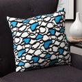 Plush Decorative Blue Hearts Throw Pillow