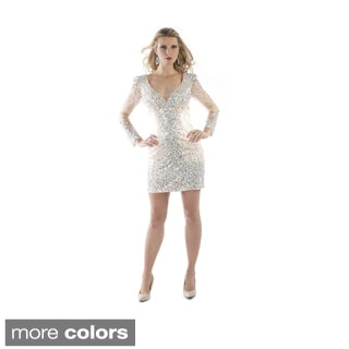 Daniella Women's Short Rhinestone-encrusted Long Sleeve Dress