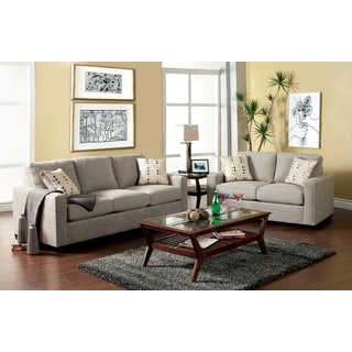 Furniture of America Welzer 2-piece Fabrc Sofa and Loveseat Set