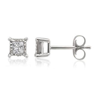 Montebello 10k White Gold 1/3ct TDW Princess-cut Illusion Set Diamond Earrings (G-H, I1-I2)