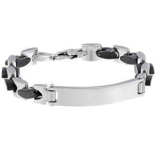 Men's Stainless Steel Black ID Bracelet