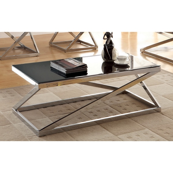 Krystalle chrome black glass top coffee table furniture side living tables mid ebay Black and chrome coffee table