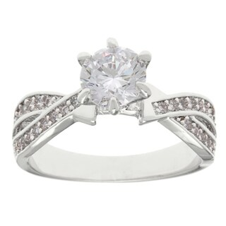 "Simon Frank Rhodium ""Belle Luminere"" CZ Engagement Ring"