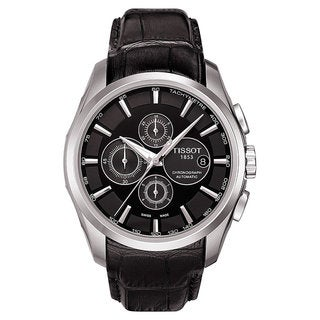 Tissot Men's 'Couturier' Automatic Black Leather Strap Watch