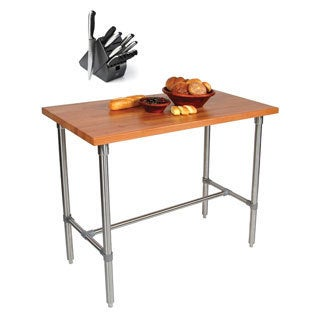 John Boos CHY-CUCKNB424 Cherry Cucina Americana Classico Table (48x24 inch) with Henckels 13 Piece Knife Block Set
