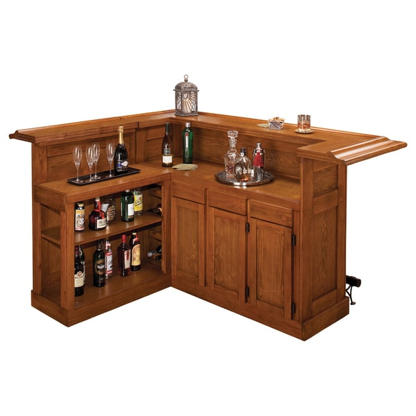 Classic Large Oak Bar with Side Bar