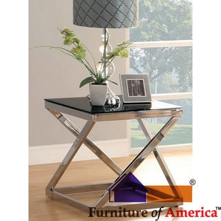 Furniture of America Krystalle Chrome and Black Glass Top End Table