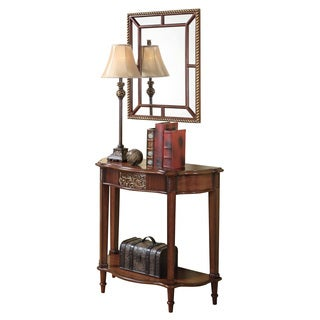 Warm Brown Table/ Mirror/ Lamp Set