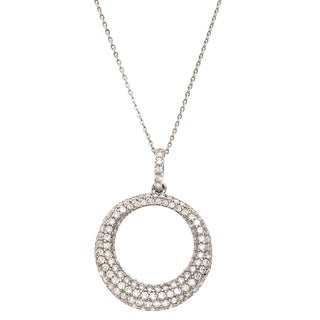 Sterling Silver Cubic Zirconia Pave Circle Pendant Necklace