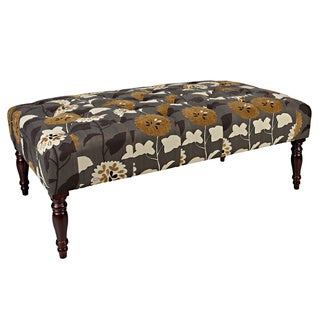 angelo:HOME Margaux Caramel Brown and Cream Meadow Flowers Tufted Cocktail Ottoman