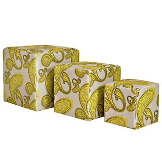 angelo:HOME Carlyle Modern Lemongrass Paisley 3 piece Nesting Ottoman Cubes