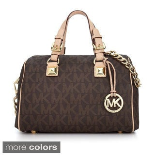 Michael Kors 'Grayson' Medium Brown Chain Logo Satchel