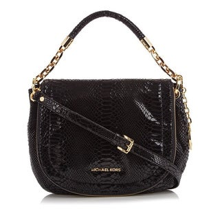 MICHAEL Michael Kors 'Stanthorpe' Medium Black Python-embossed Shoulder bag