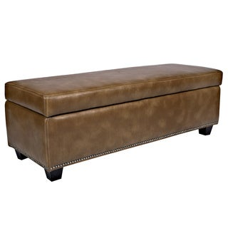 angelo:HOME Kent Milk Chocolate Brown Renu Leather Wall Hugger Storage Ottoman