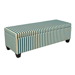 angelo:HOME Kent Cottage Stripe Turquoise Blue Wall Hugger Storage Ottoman