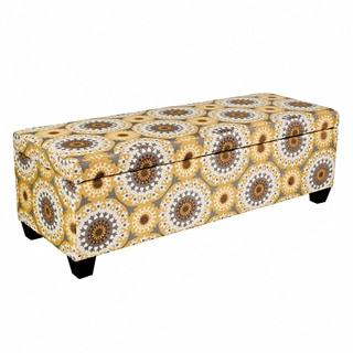 angelo:HOME Kent Golden Yellow Garden Wheel Storage Ottoman