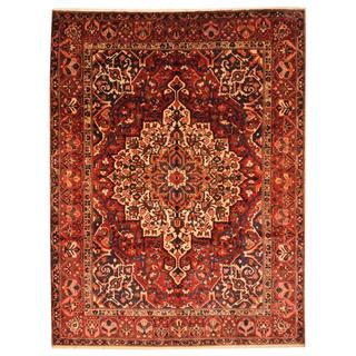Antique 1950's Persian Hand-knotted Bakhtiari Rust/ Navy Wool Rug (9'9 x 12'10)