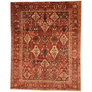 Antique 1930's Persian Hand-knotted Baktiari Burgundy/ Rust Wool Rug (10'2 x 13')