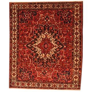 Antique 1950's Persian Hand-knotted Bakhtiari Burgundy/ Ivory Wool Rug (10'3 x 12'3)