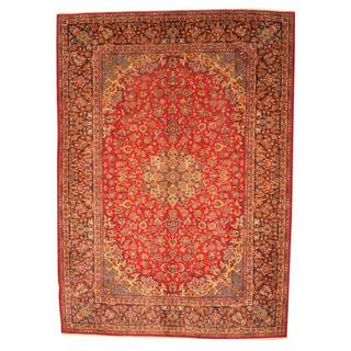 Antique 1960's Persian Hand-knotted Isfahan Red/ Navy Wool Rug (10' x 13'10)