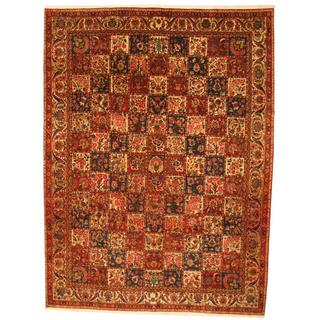Antique 1960's Persian Hand-knotted Bakhtiari Red/ Ivory Wool Rug (10'6 x 13'10)