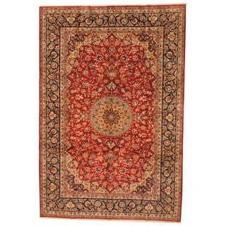 Antique 1960's Persian Hand-knotted Isfahan Red/ Navy Wool Rug (9'7 x 12'9)