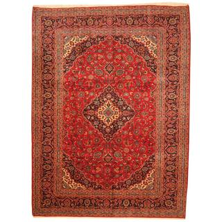 Antique 1940's Persian Hand-knotted Kashan Red/ Navy Wool Rug (9'10 x 13'2)