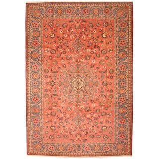 Antique 1960's Persian Hand-knotted Isfahan Peach/ Blue Wool Rug (9'7 x 14')