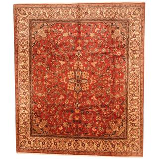 Antique 1920's Persian Hand-knotted Mahal Peach/ Ivory Wool Rug (10' x 12')